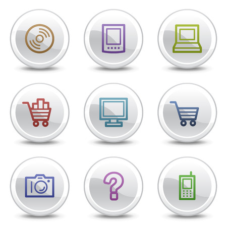 Electronics web color icons, white circle buttons series Vector