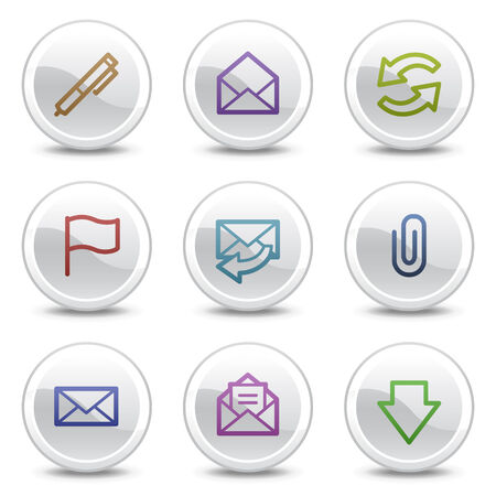E-mail web colour icons, white circle buttons series Stock Vector - 5243659