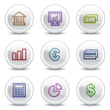 Finance web colour icons, white circle buttons series Vector