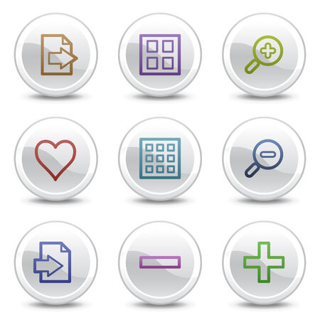 viewer: Image viewer web colour icons, white circle buttons series Illustration