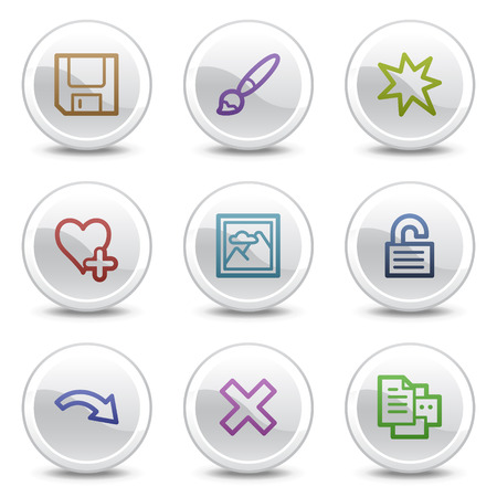 Image viewer web colour icons set 2, white circle buttons series Stock Vector - 5243667