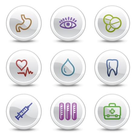 Medicine web colour icons, white circle buttons series Stock Vector - 5243681