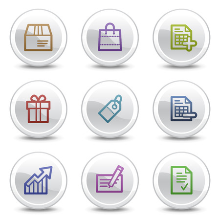 Shopping web colour icons, white circle buttons series Vector