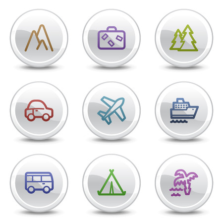 air liner: Travel web colour icons, white circle buttons series