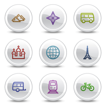 Travel web colour icons set 2, white circle buttons series Vector