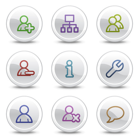 Users web colour icons, white circle buttons series Stock Vector - 5243662
