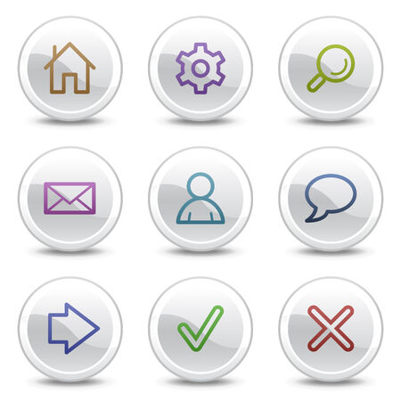 arrow home: Basic web colour icons, white circle buttons series