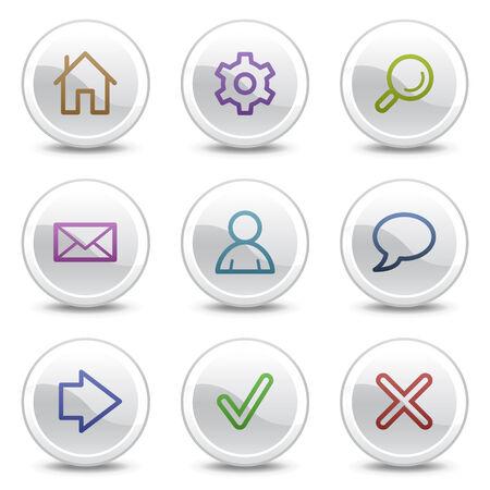 sig: Los iconos de color de base web, botones de c�rculo blanco serie