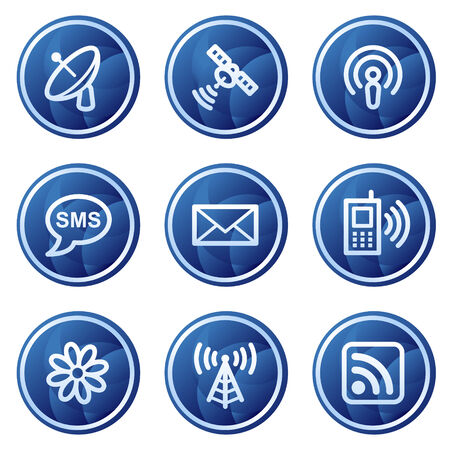 sat: Communication web icons, blue circle buttons series Illustration