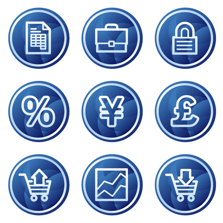 E-business web icons, blue circle buttons series Vector