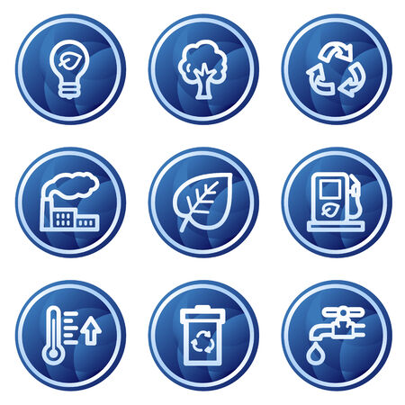 Ecology web icons, blue circle buttons series Vector