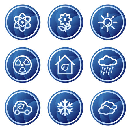 Ecology web icons set 2, blue circle buttons series Stock Vector - 5295998