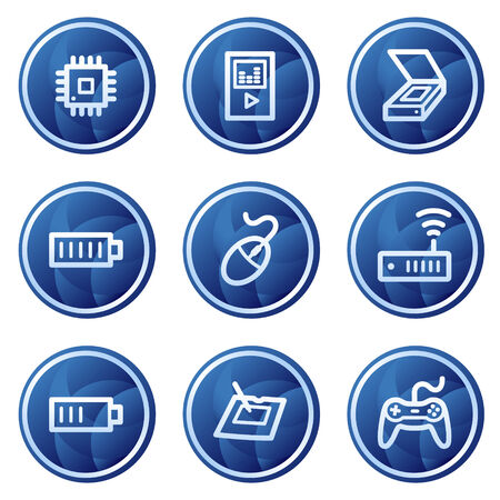 lan: Electronics web icons set 2, blue circle buttons series