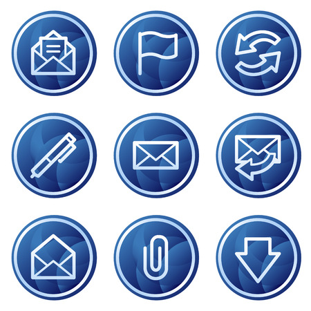 E-mail web icons, blue circle buttons series Vector