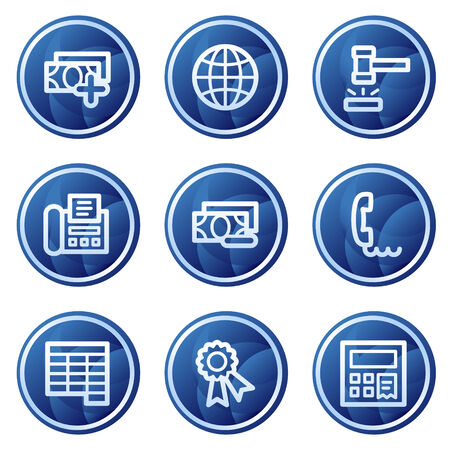 Finance web icons set 2, blue circle buttons series Vector