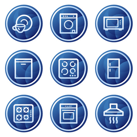 Home appliances web icons, blue circle buttons series Vector