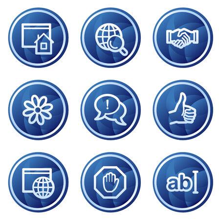 Internet communication web icons, blue circle buttons series Illustration