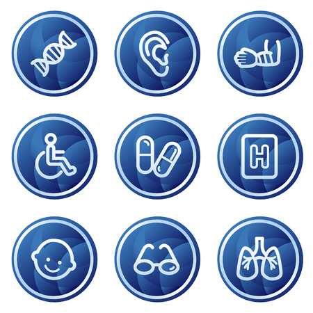 Medicine web icons set 2, blue circle buttons series Stock Vector - 5295986