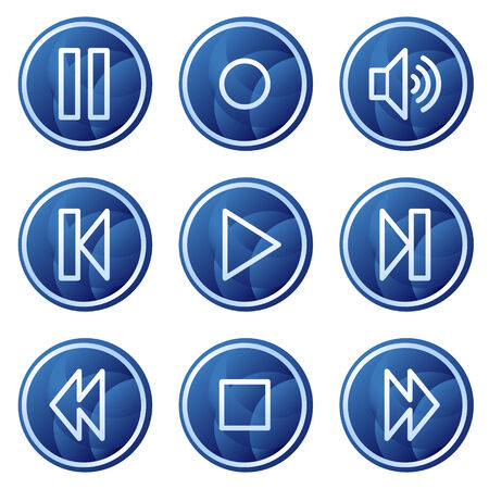Walkman web icons, blue circle buttons series Vector