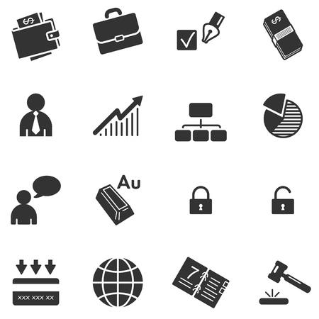 Business black web icons Stock Vector - 5295959