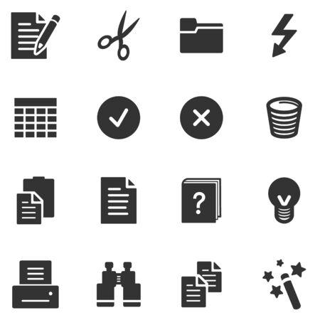 Iconos de documentos web negro