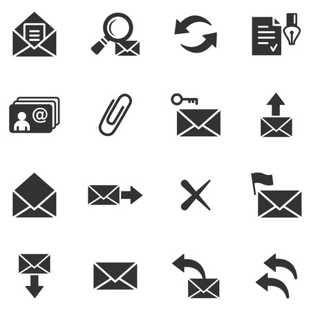 E-mail black web icons Stock Vector - 5295883