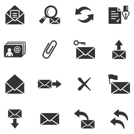 Messagerie web noir icônes