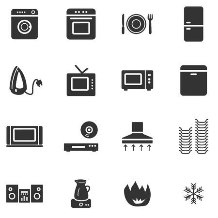 Huishoudapparatuur zwart web icons Vector Illustratie