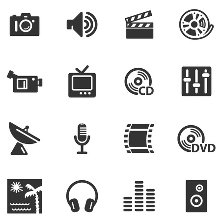 Media black web icons Vector