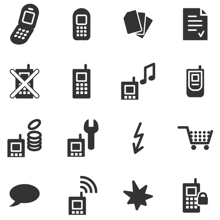 Mobile phone black web icons Vector
