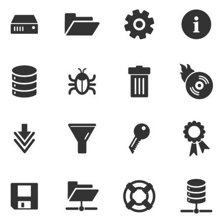 Server zwarte web iconen  Vector Illustratie