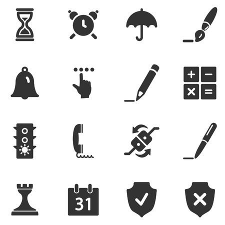Iconos Web Software negro Ilustración de vector