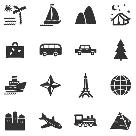 Travel black web icons Vector