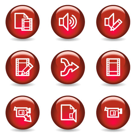 Audio video edit web icons, red glossy series Vector