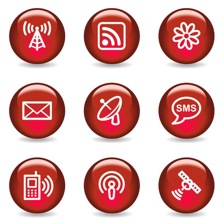 Communication web icons, red glossy series Stock Vector - 5296059