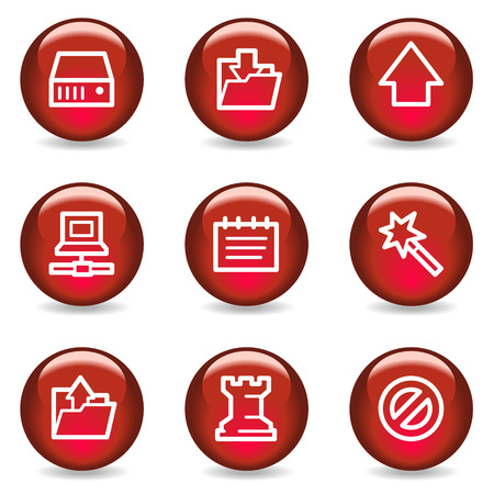 Data web icons, red glossy series Stock Vector - 5296034