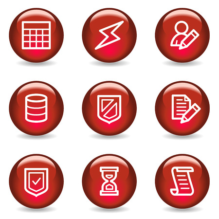 Database web icons, red glossy series Vector