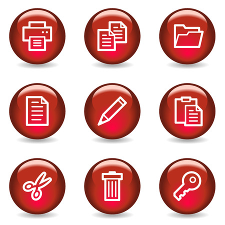 Document web icons, red glossy series Vector