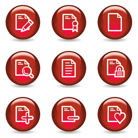 Document web icons set 2, red glossy series Vector