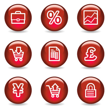 E-business web icons, red glossy series Vector