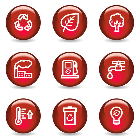 Ecology web icons, red glossy series Vector