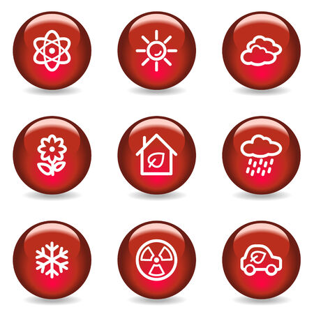 Ecology web icons set 2, red glossy series Stock Vector - 5296062