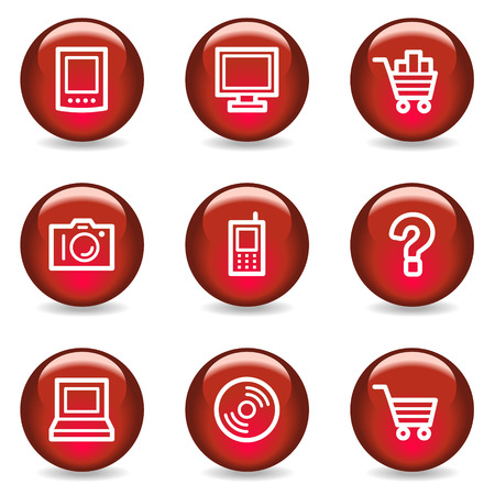 Electronics web icons, red glossy series Stock Vector - 5296032