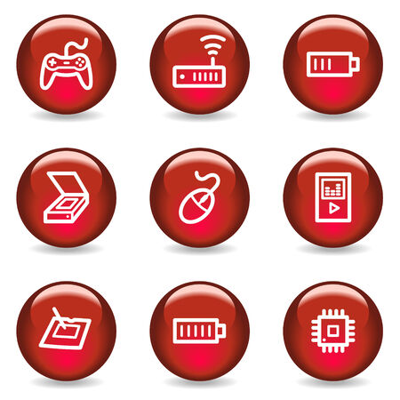 Electronics web icons set 2, red glossy series Vector