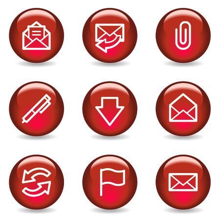 E-mail web icons, red glossy series Vector