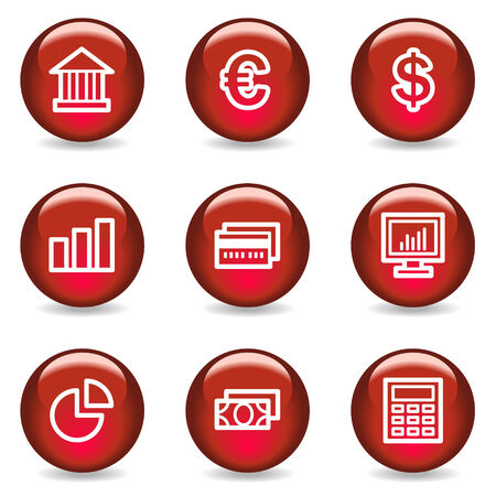 Finance web icons, red glossy series Vector