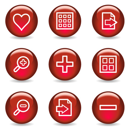 and viewer: Image viewer web icons, red glossy series Illustration