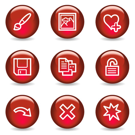 and viewer: Image viewer web icons set 2, red glossy series
