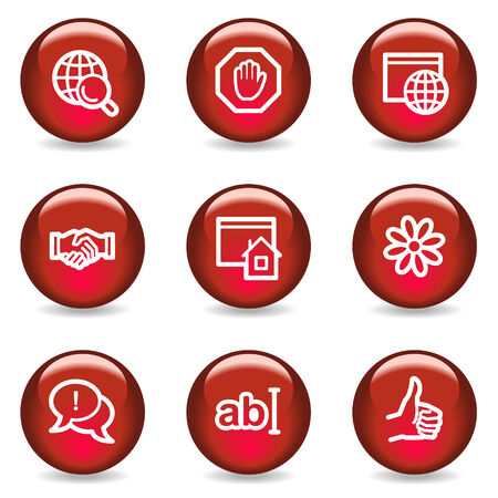 Internet communication web icons, red glossy series Vector