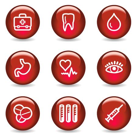 Medicine web icons, red glossy series Stock Vector - 5296054